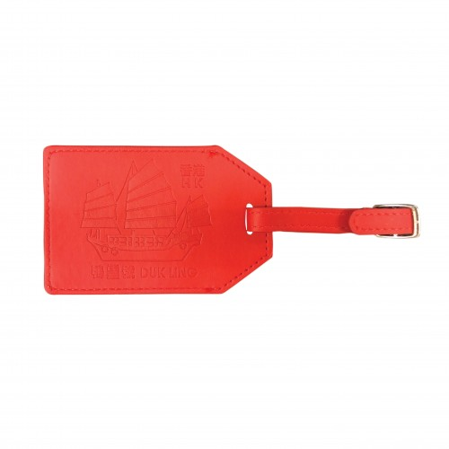 Luggage Tag -  Dukling Leather Luggage Tag (Red)